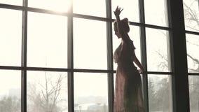 Ritratto del primo piano di un ballerino di balletto grazioso siluetta di giovane ballerina sul fondo della finestra Movimento le video d archivio