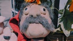 Ritratto del primo piano di una bambola di straccio di un uomo rurale con i baffi su un fondo più exterrier rurale stock footage