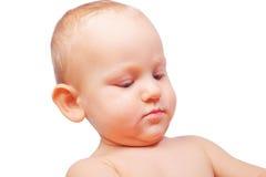 Ritratto del ragazzino isolato su bianco Immagine Stock