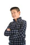 Ritratto del ragazzo asiatico su bianco Fotografia Stock Libera da Diritti