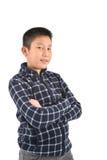 Ritratto del ragazzo asiatico su bianco Immagine Stock Libera da Diritti