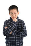 Ritratto del ragazzo asiatico su bianco Immagini Stock