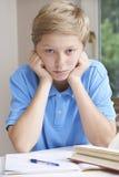 Ritratto del ragazzo che lotta con il compito Fotografia Stock Libera da Diritti