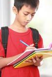 Ritratto del ragazzo con scrittura dello zaino Fotografia Stock