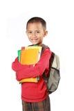 Ritratto del ragazzo con sorridere dello zaino Fotografie Stock Libere da Diritti