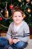 Ritratto del ragazzo di natale Fotografie Stock