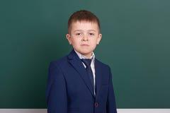 Ritratto del ragazzo di scuola vicino al fondo in bianco verde della lavagna, vestito in vestito nero classico, un allievo, conce Fotografia Stock Libera da Diritti