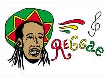 Ritratto del rastaman in cappello di rasta Tema della Giamaica Progettazione di massima di reggae Arte disegnata a mano Insegna,  Immagine Stock