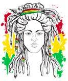 Ritratto del rastaman Tema della Giamaica Progettazione di massima di reggae Tatuaggio Art Immagini Stock
