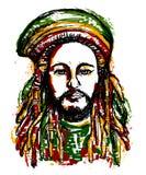 Ritratto del rastaman Tema della Giamaica Progettazione di massima di reggae Tatuaggio Art Immagine Stock