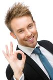 Ritratto del responsabile gesturing giusto fotografia stock libera da diritti