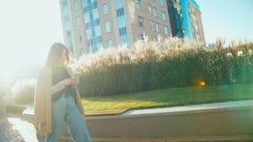 Ritratto del rivestimento d'uso e dei jeans della bella della corsa mista donna d'avanguardia dei pantaloni a vita bassa Usa gli  video d archivio