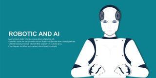 Ritratto del robot umano illustrazione di stock
