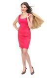 Ritratto del sacchetto della spesa sorridente felice della tenuta della donna fotografia stock