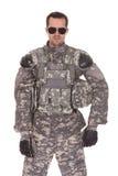 Ritratto del soldato With Rifle fotografia stock