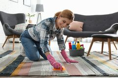 Ritratto del tappeto di pulizia della donna con la spazzola immagini stock