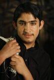 Ritratto del tipo di Pathan sulla via alla notte Immagini Stock