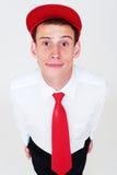 Ritratto del tirante in protezione e cravatta rosse Fotografia Stock Libera da Diritti