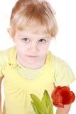 Ritratto del tulipano di fiuto della bambina Fotografie Stock Libere da Diritti