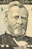 Ritratto del Ulysses S Grant affronta sui dollari di macro della fattura degli Stati Uniti cinquanta o 50 Fotografie Stock Libere da Diritti