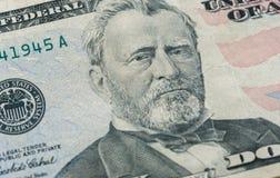 Ritratto del Ulysses S Grant affronta sui dollari di macro della fattura degli Stati Uniti cinquanta o 50 Immagini Stock Libere da Diritti