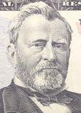 Ritratto del Ulysses S Grant affronta sui dollari di macro della fattura degli Stati Uniti cinquanta o 50, primo piano dei fondi  Fotografia Stock Libera da Diritti