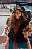 Ritratto del venditore femminile al mercato degli agricoltori della città di Roanoke Fotografie Stock Libere da Diritti