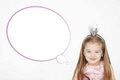 Ritratto del vestito d'uso da rosa di principessa della bambina sveglia Immagini Stock Libere da Diritti