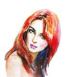 Ritratto dell'acquerello di bella donna royalty illustrazione gratis