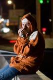 Ritratto dell'adolescente alla notte Fotografia Stock