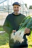 Ritratto dell'agricoltore con il pacco dei porri e del falcetto Fotografia Stock Libera da Diritti