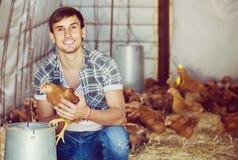 Ritratto dell'agricoltore dell'uomo con il pollo sull'azienda avicola all'interno Fotografia Stock Libera da Diritti