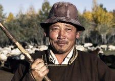 Ritratto dell'agricoltore mongolo isolato Immagine Stock