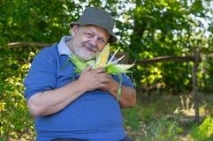 Ritratto dell'agricoltore senior sorridente con l'orecchio maturo di mais Fotografia Stock Libera da Diritti