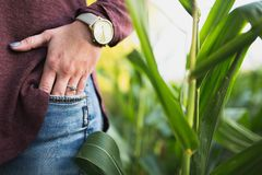 Ritratto dell'anello di fidanzamento della femmina fotografia stock