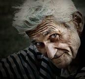 Ritratto dell'annata dell'uomo maggiore con il sorriso di saggezza Immagini Stock Libere da Diritti