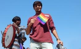 Ritratto dell'attivista di LGBT con la richiesta di uguaglianza durante lo Swabhimana strano Yatra Fotografia Stock Libera da Diritti