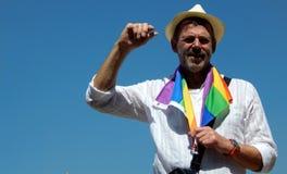Ritratto dell'attivista di LGBT con la richiesta di uguaglianza durante lo Swabhimana strano Yatra Immagine Stock Libera da Diritti