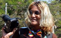 Ritratto dell'attivista di LGBT con la richiesta di uguaglianza durante lo Swabhimana strano Yatra Fotografia Stock
