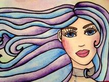 Ritratto dell'illustrazione dell'acquerello della ragazza Immagine Stock