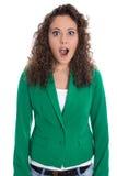 Ritratto dell'isolato donna dentro colpita e sorpresa di affari Immagine Stock Libera da Diritti