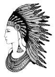 Ritratto dell'nativo americano illustrazione di stock