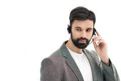Ritratto dell'operatore di call center pensieroso in cuffia avricolare Fotografie Stock Libere da Diritti