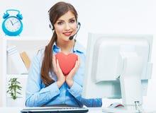 Ritratto dell'operatore sorridente della call center con l'iso della cuffia avricolare del telefono Fotografia Stock