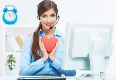 Ritratto dell'operatore sorridente della call center con l'iso della cuffia avricolare del telefono Immagine Stock Libera da Diritti