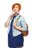 Ritratto dell'università o dell'istituto universitario diligente della studentessa con il passo Fotografia Stock Libera da Diritti