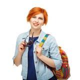 Ritratto dell'università o dell'istituto universitario diligente della studentessa con il passo Immagini Stock Libere da Diritti