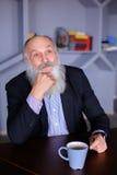 Ritratto dell'uomo anziano astuto che riflette su vita e wi di posa Fotografia Stock