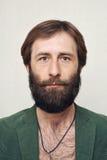 Ritratto dell'uomo barbuto Fotografia Stock Libera da Diritti