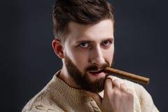 Ritratto dell'uomo barbuto sospettoso con il sigaro Immagine Stock Libera da Diritti